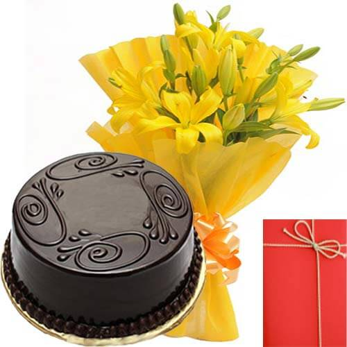 Yellow Lilies Bunch with Eggless Chocolate Truffles Cake Greeting Card